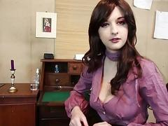 Gorgeous curvy all-natural secretary pleasures her boos with a blow-job