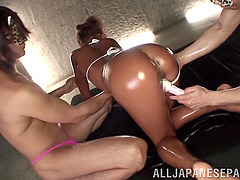 Oiled Japanese Pornstar In Bikini Moaning In Ecstasy
