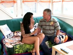 Tattooed hooker goes wild on a hard dick of her regular client