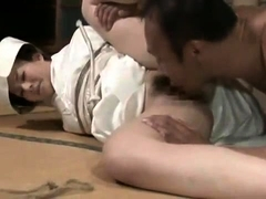 Sexy Oriental housewife has her lover banging her hairy cunt