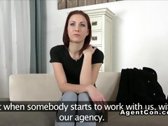 Fake agent recording sex with redhead amateur
