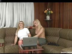 Tranny seduces an innocent girl and fucks her on couch