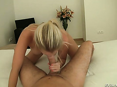 Cock hungry blond wife with big tits swallows juicy sausage of her man ardently