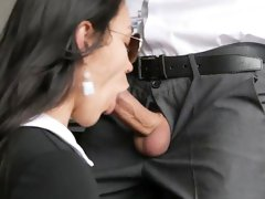 Office Secretary Sucks and Gets Anal