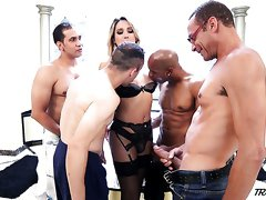 Horny curvy Tgirl Bianca Hills has nothing against some brutal gangbang
