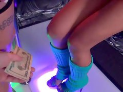 Passionate lesbian play for cash with two strippers