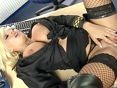Blonde police officer Michelle Thorne pounded at the station