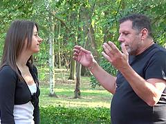 Candice Cox fucks a mature fellow during a picnic session