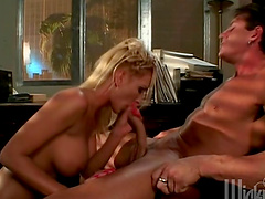 Busty blonde boss gets her tight ass fucked on her desk