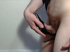 Black Leather Heels Pumped Full of Cum