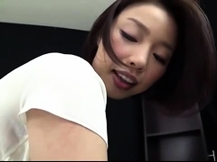 Pantyhosed Oriental babe with a fabulous ass teases a cock
