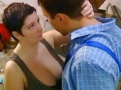 Short haircut 90s fatty girl rides big cock and titjobs it