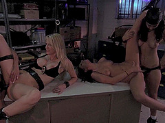 Four cop girls are gonna fuck each other so hard