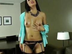 Hot asian shemale Fanta strokes her dick