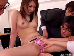 Japanese hottie Asuka gets fondled and fucked by a few men in an office
