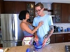 Horny MILF Veronica Avluv taking teen cock in the kitchen.