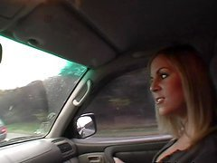 Petra the blonde in stockings gets fucked in a car