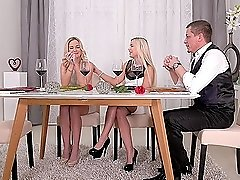 Elegant blondes Lola Blond and Vinna Reed in a threesome after dinner