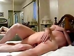 Hubby cleans and fucks wife pussy