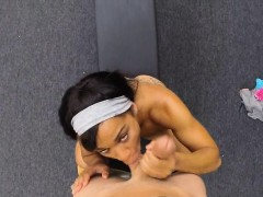 Ebony gym instructress pawns her twat and banged for money