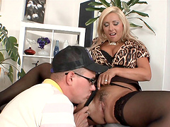 Horny brunette drinks from the long cock pending hardcore clothed sex