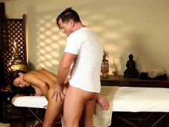 Gorgeous babe jizzed on round ass by masseur