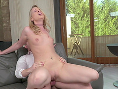 Kiara Night gets naked and bends over for a hunk's big boner