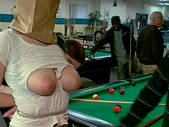 Blonde bitch gets fucked on a pool table