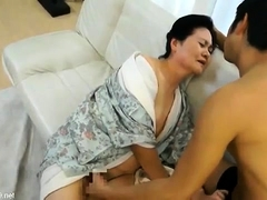Lustful Asian mom gives her hairy pussy to her young lover
