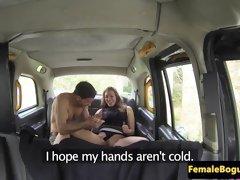 Busty amateur cabbie dickriding passenger