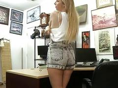 Pretty blond babe banged by pawn keeper