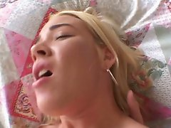 Blonde hottie gets her ass stretched
