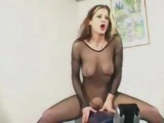 Catsuit stockings woman rides fuck machine to orgasm ST69